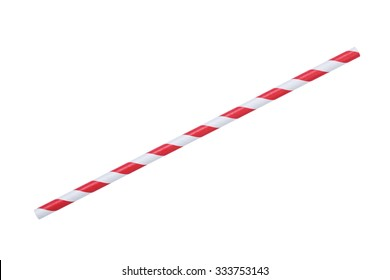 red striped papaer straw, isolated on white