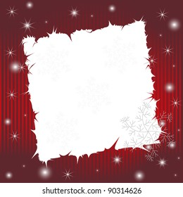 Red striped wishing card with snowflakes and shining stars (available in vector)