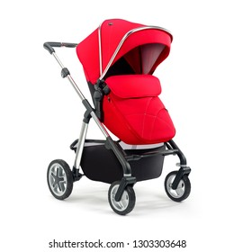 Red Stroller Isolated on White Background. Side View of Baby Transport. Pushchair and Carrycot with Canopy and Swivel Wheels. Infant Carriage Seat. Travel System or Pram with Elevators and Raincover