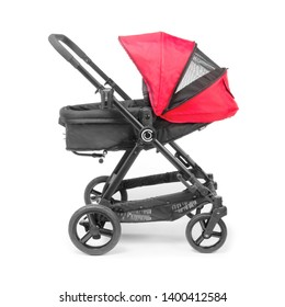 Red Stroller Isolated on White Background. Side View of Baby Transport with Canopy and Swivel Front Wheels. Infant Carriage Seat. Travel System. Pushchair or Pram with Adjustable Showerproof Hood