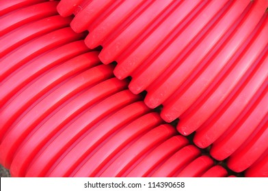 Red structure of plastic pipe.