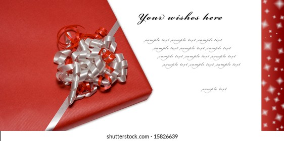 Red Style Greeting Card (present isolated - path included)