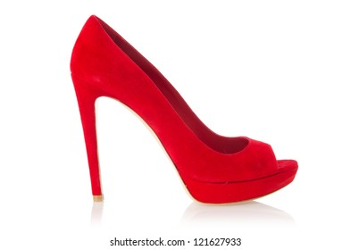 Red stylish woman shoes isolated on the white