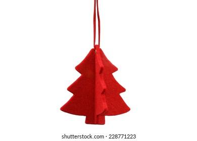 Red Stylized Christmas Tree Ornament made rom Felt