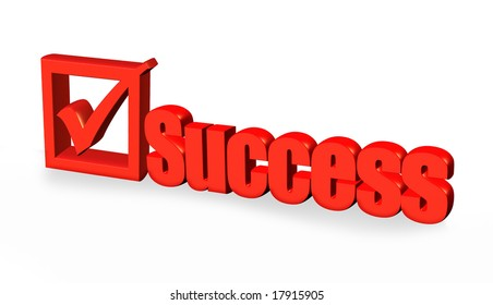 red success word and tick sign on white background,