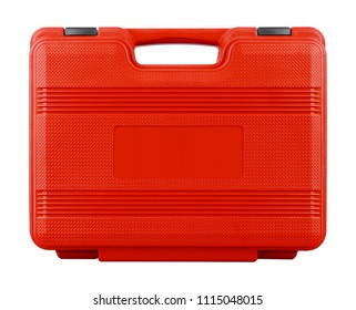 Red suitcase isolated on a white background