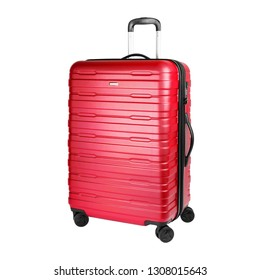 Red Suitcase Isolated on White Background. Side View of Trolley Luggage Bag. Vip Trolley Travel Bag. Spinner Trunk. Wheeled Luggage. Roller Case. Large Trolleycase with 4 Rotating Wheels