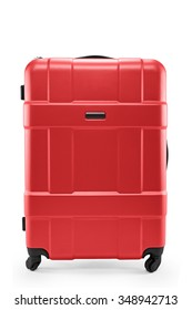 a red suitcase isolated on a white background