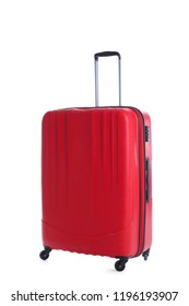 Red suitcase for travelling on white background