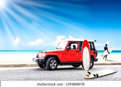 Red summer car on beach and surfer. Free space for your decoration.