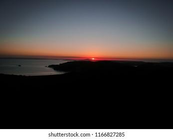 Red sun, sunset on Waiheke Island