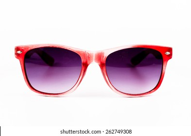 Red sunglasses isolated on white background