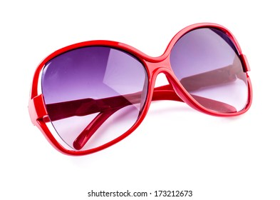 Red sunglasses on isolated white background