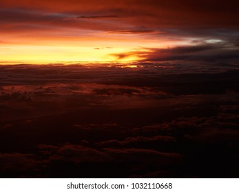 red sunset above the clouds