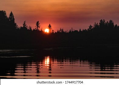 Red Sunset at Cranberry Lake