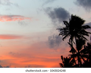 Red sunset on a tropical island
