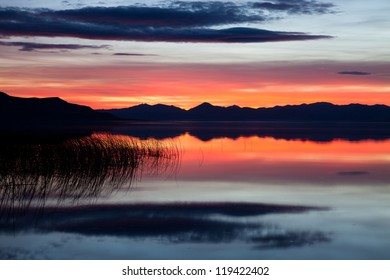 Red Sunset on Utah Lake