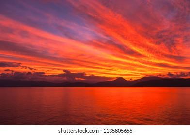 Red sunset over Cape Grafton, Queensland, Australia