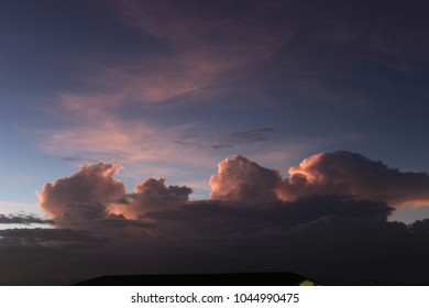 Red sunset over the clouds