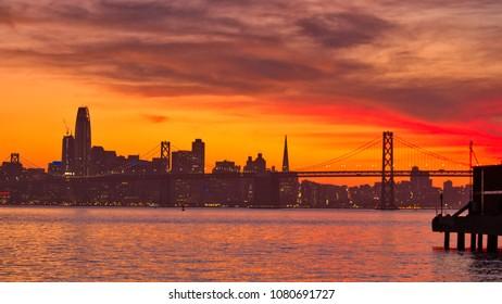 Red sunset in San Francisco skyline, California, USA