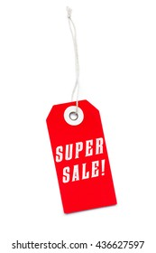 Red Super Sale label tag with special offer message