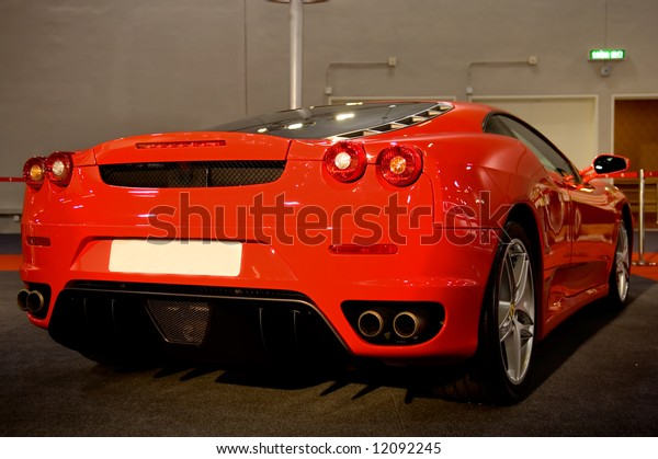 Red supercar at show
