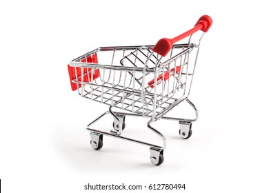 A red supermarket cart, isolated on white background