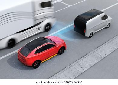 Red SUV emergency braking to avoid car crash. Automatic Emergency Braking (Emergency brake system) concept. Left-hand traffic scene. 3D rendering image.
