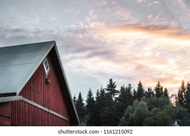 Red swedish house seen in the left part of the image with green trees and blue sky and clouds in the background in the sunset