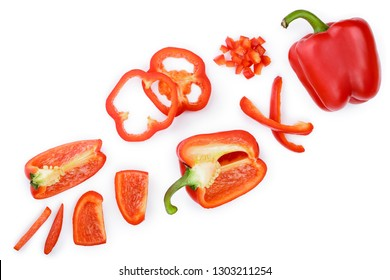 red sweet bell pepper isolated on white background with copy space for your text. Top view. Flat lay