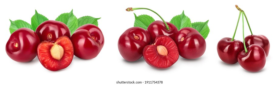 red sweet cherry isolated on white background with full depth of field. Set collection