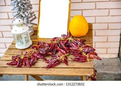 red sweet and chili Hungarian paprika   after harvesting. Traditional Hungarian food souvenirs