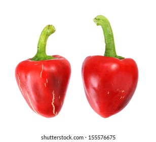 red sweet peppers isolated on white background