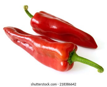 red sweet peppers on white
