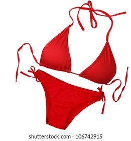 Red swimsuit isolated on white background with clipping path