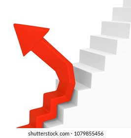 Red symbolic arrow stair diverge, 3d illustration, horizontal, over white, isolated