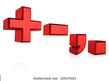 Red symbols isolated on white background. 3d render