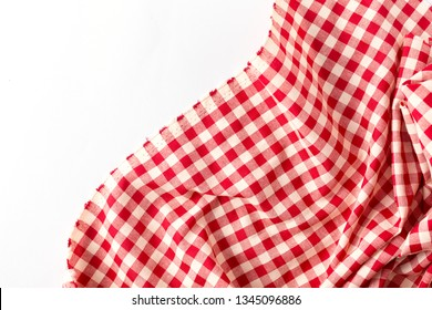 red table cloth on white background