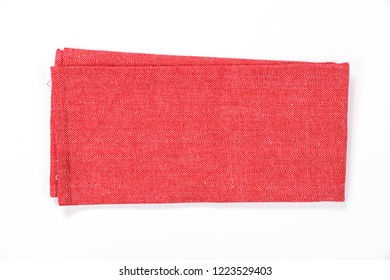 Red tablecloth isolated on white background