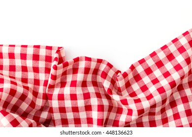 red tablecloth on white background