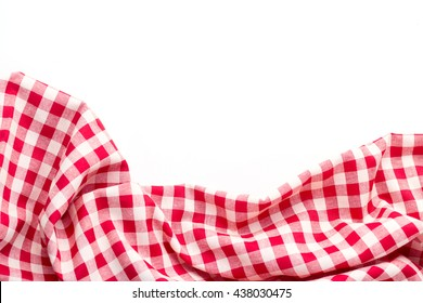 red tablecloth on white background,crumpled tablecloth on white background