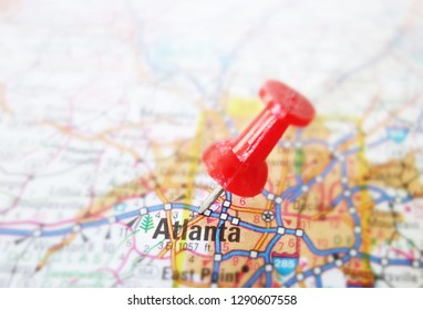 Red tack in a map of Atlanta Georgia