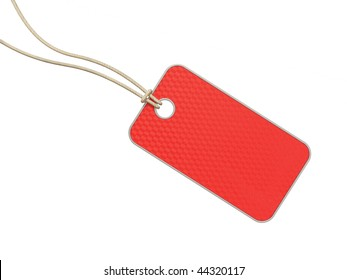 red tag on white background