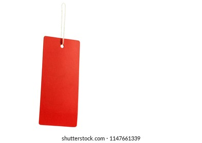 Red tag with rope for hanging. Clipping path inside.