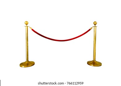 Red tape mobile fences in front of the entrance isolated on white background