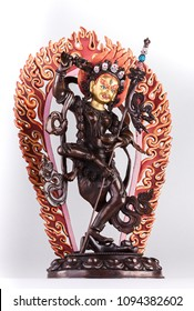 Red Tara in Vajrayogini's shape in a semi-angry form with the golden face and a knife cutting attachments.