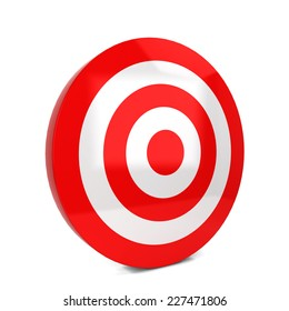 Red target. 3d illustration isolated on white background
