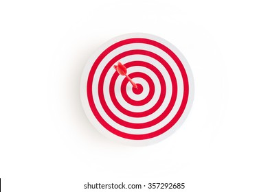 Red target with red arrow on goal on white background, business concept