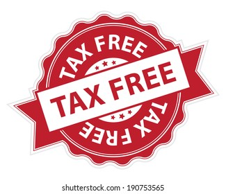 Red Tax Free Stamp, Label, Sticker, Icon or Badge Isolated on White Background
