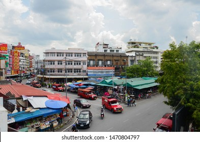 Red Taxi in Warorot Market,Chiangmai,Thailand 2015